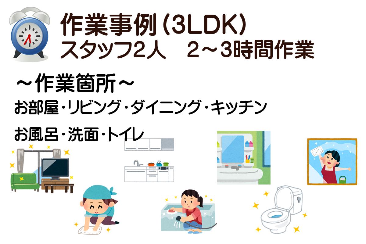 作業事例(3LDK)スタッフ2人2~3時間作業 ~作業箇所~お部屋・リビング・ダイニング・キッチン・お風呂・洗面・トイレ