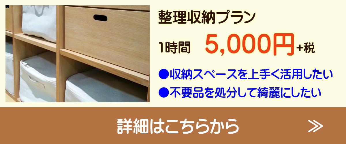整理収納プラン 1時間5,000円(税抜き) ●収納スペースを上手く活用したい ●不用品を処分して綺麗にしたい